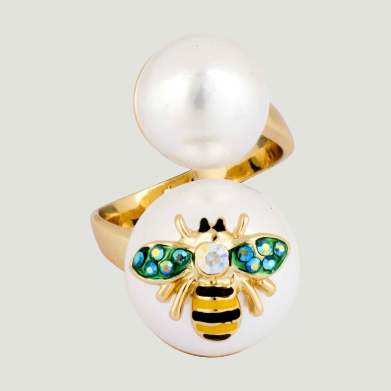 Adjustable Double Pearl Bee Ring