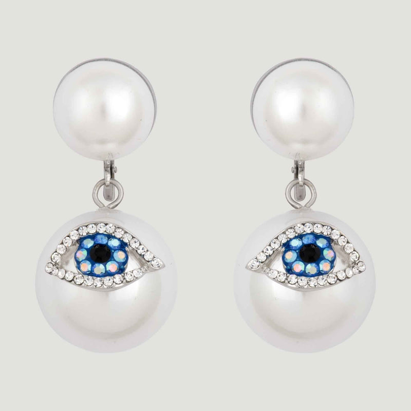 Crystal Eye Pearl Drop Earrings