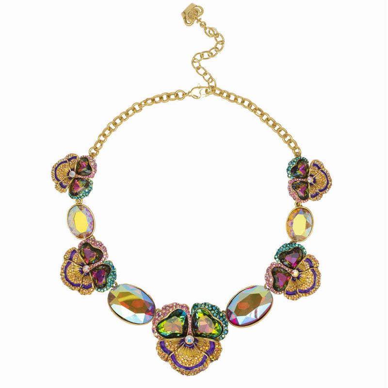 Graduated Pansy Flower & Oval Stones Crystal Necklace