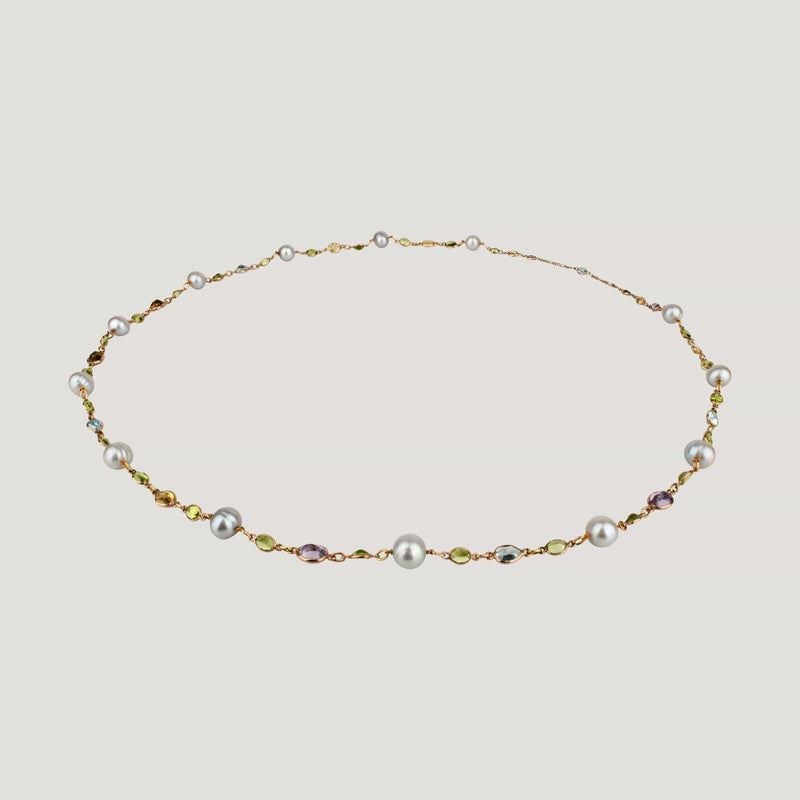 Lemon Quartz Green Amethyst Pearls Necklace