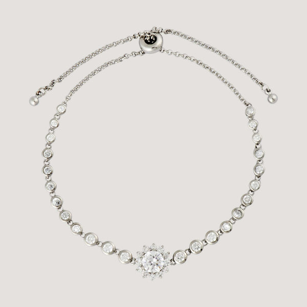 Delicate Crystal Encrusted Flower Adjustable Bracelet