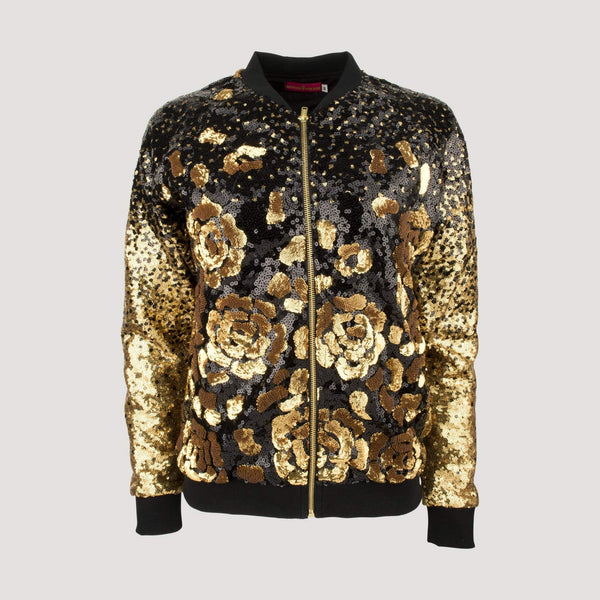 Short Sequin Bomber Jacket with Roses
