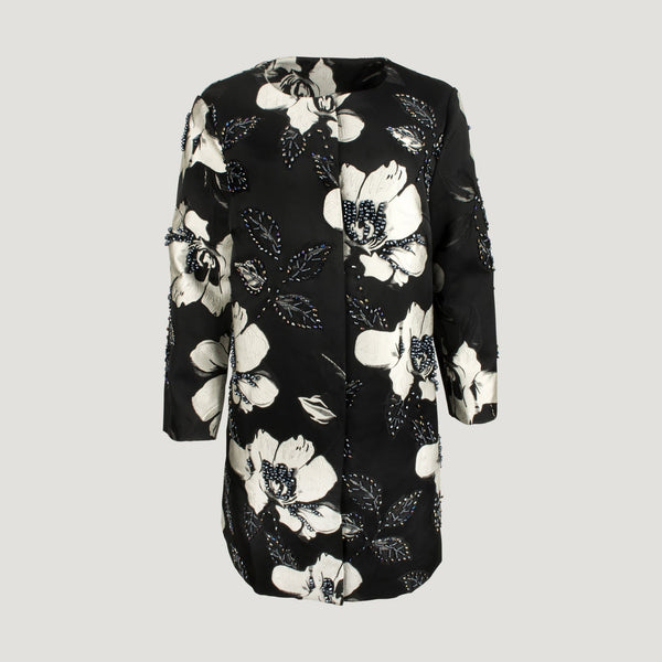 Black & White Flower Print Dress Coat