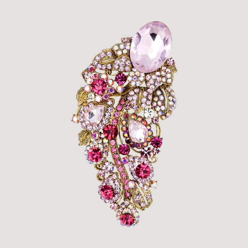 Jewelled Feather Crystal Brooch