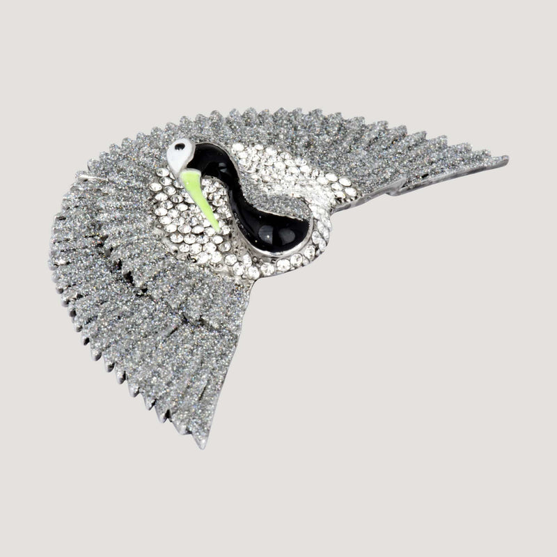 Crystal Bird Fan Tail Brooch