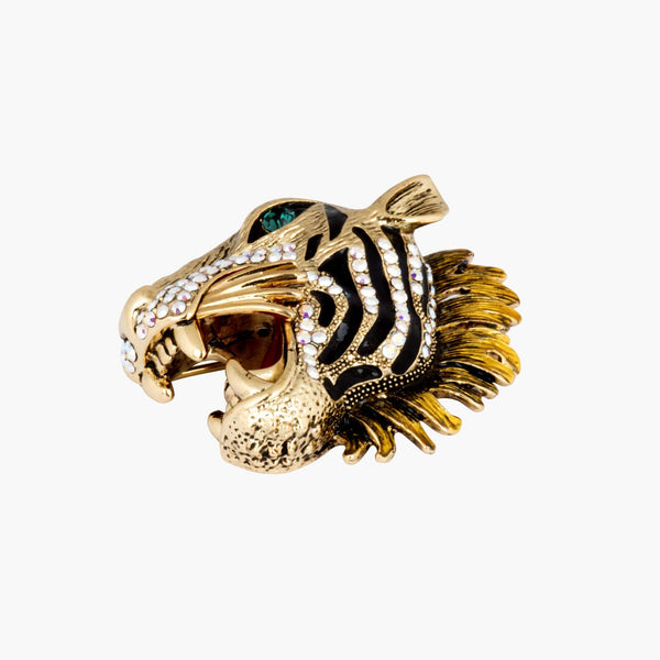Crystal Tiger Brooch