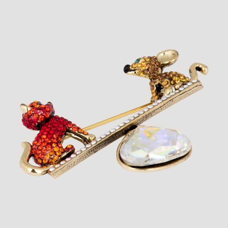 Cat & Mouse on a Scale Brooch