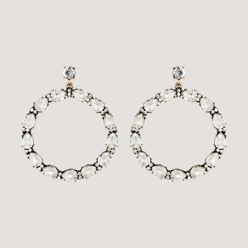 Crystal Teardrop Front Hoop Earrings