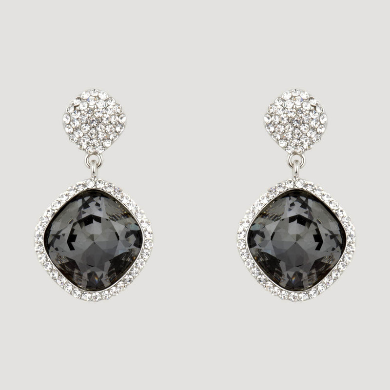 Square Drop Crystal Earrings