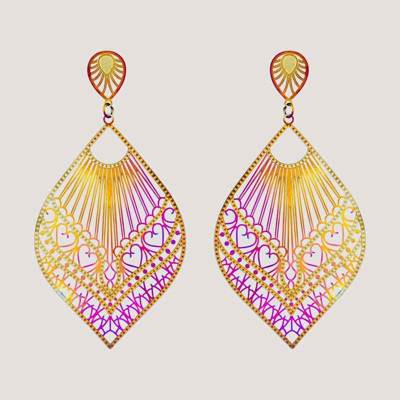 Hologram Teardrop Filigree Earrings