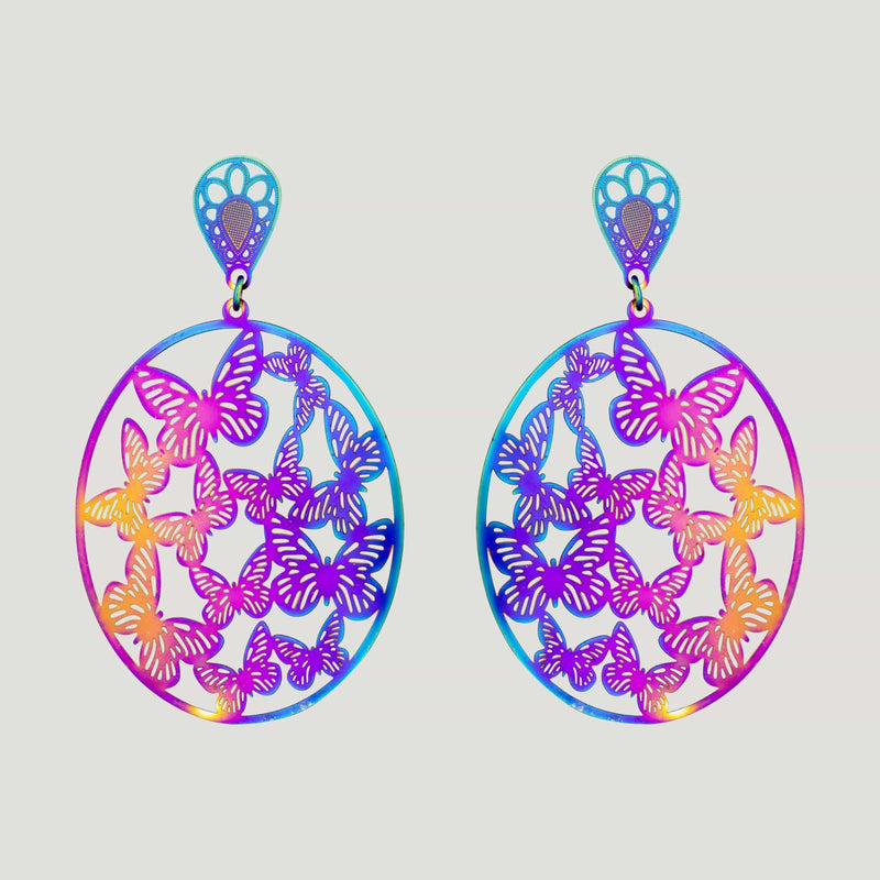 Oval Hologram Butterfly Earrings