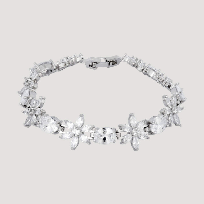 Daisy Flower and Oval Crystals Bracelet