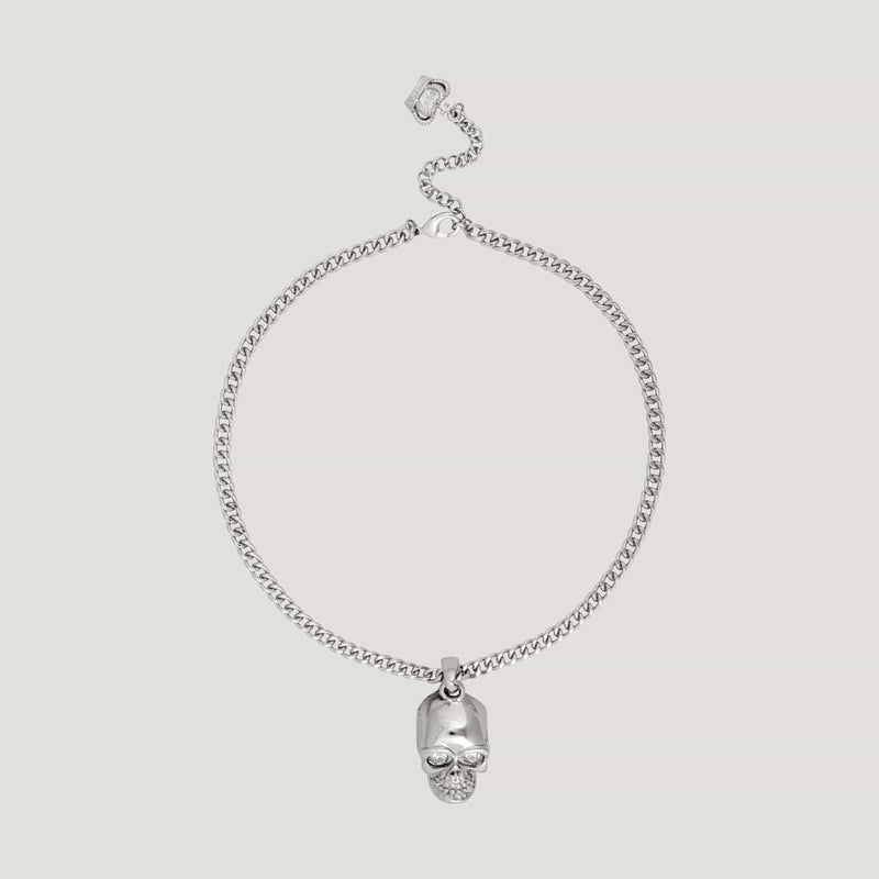 Enamel Silver Skull Chain Necklace