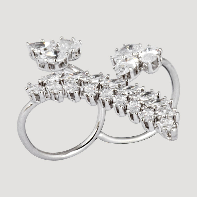 Crystal Leaves Double Finger Ring