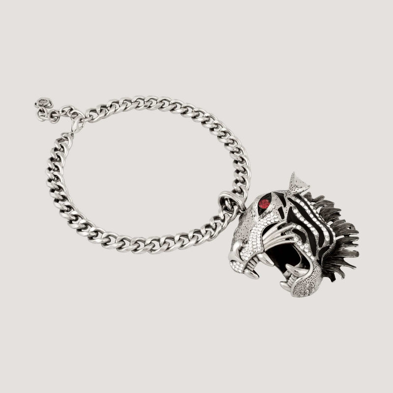 Big Crystal Tiger Head Chain Necklace