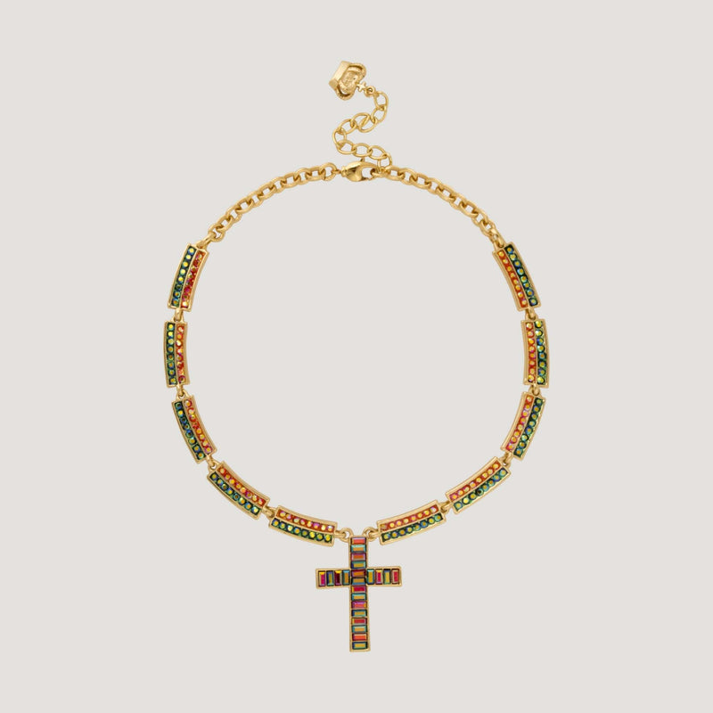 Crystal Cross with Crystal Bars Necklace