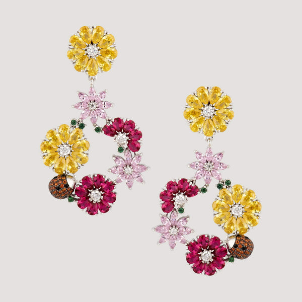 Crystal Flowers Drop Earrings