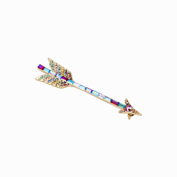 Multi Crystal Encrusted Cupid's Arrow Brooch