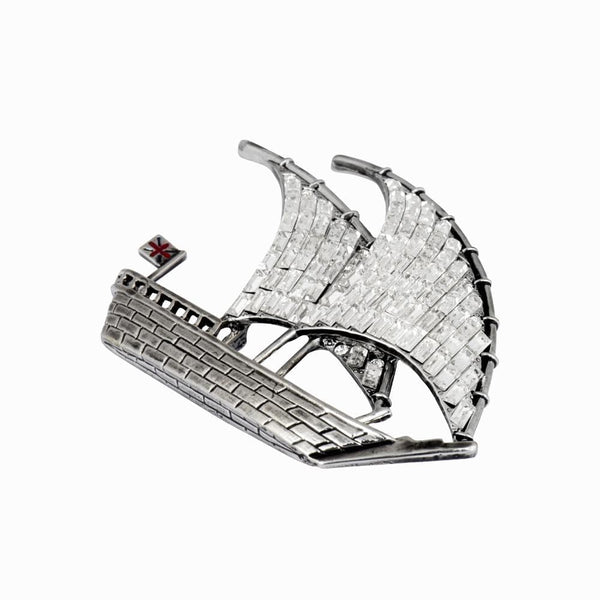 Multi Crystal Ship & Flag Brooch