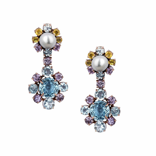 Blue Topaz, Yellow Sapphire & Amethyst Drop Earrings