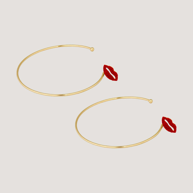 large Crystal Lips Hoop Earrings