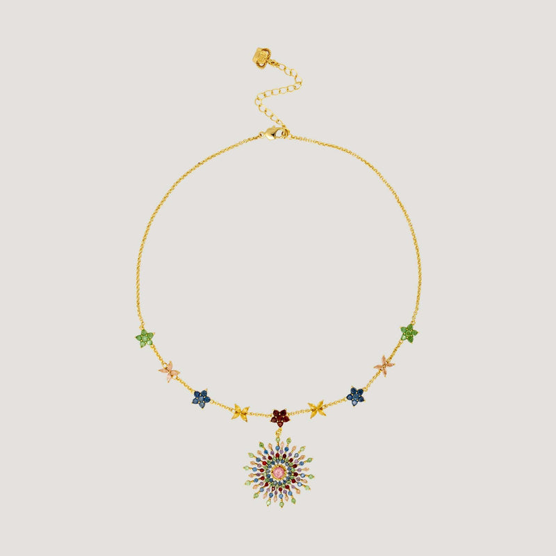 Crystal Star Pendant on Flower Chain Necklace