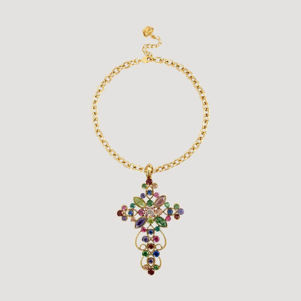 Delicate Assorted Crystal Cross Chain Necklace