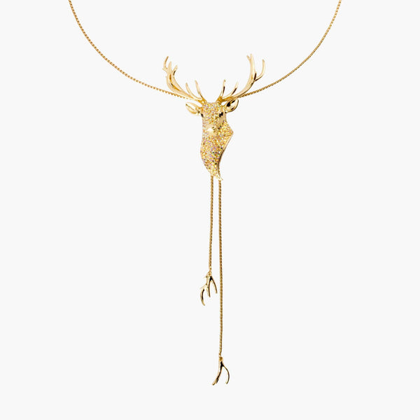 Crystal Stag Lariat Necklace