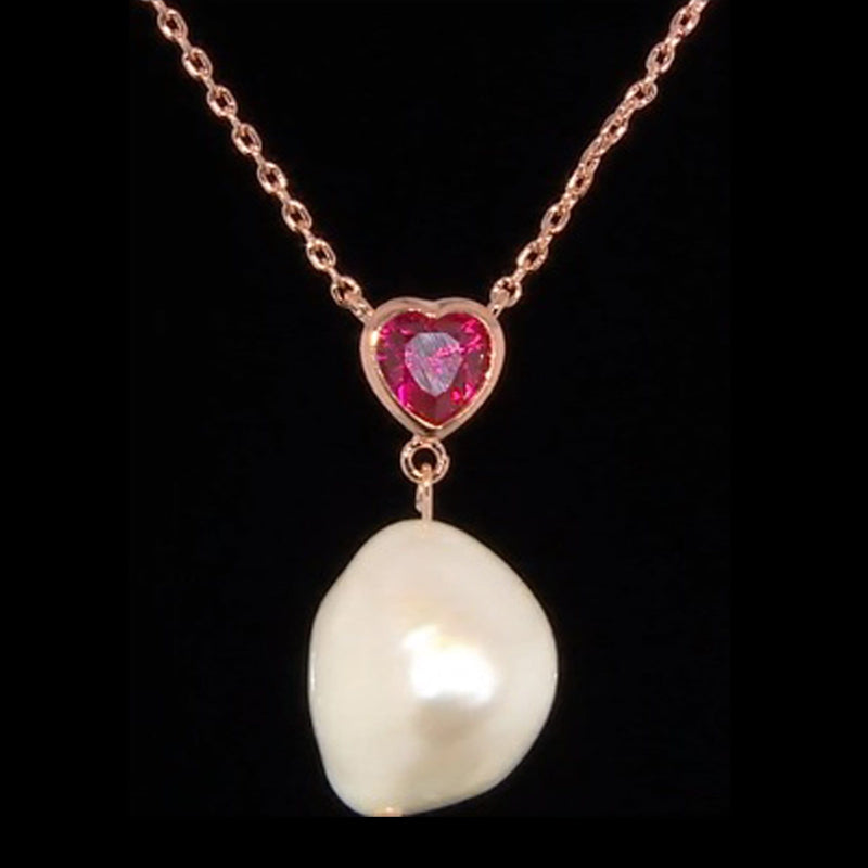 Cultured Pearl & Heart Necklace
