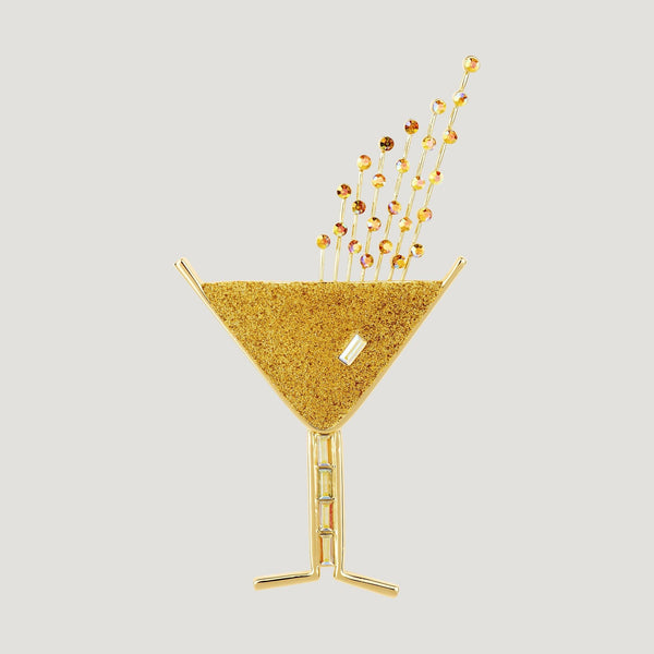 Glitter Champagne Glass Brooch