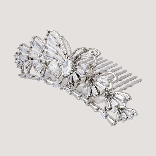 Crystal Butterfly with Baguette Stones Haircomb