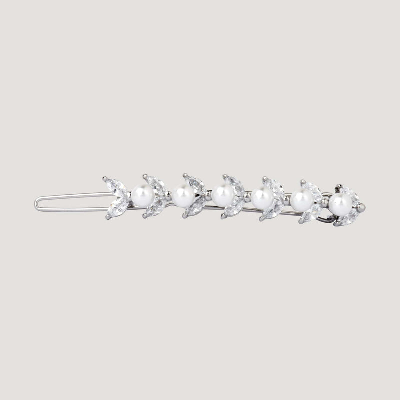 Crystal Leaves with Pearls Hairclip
