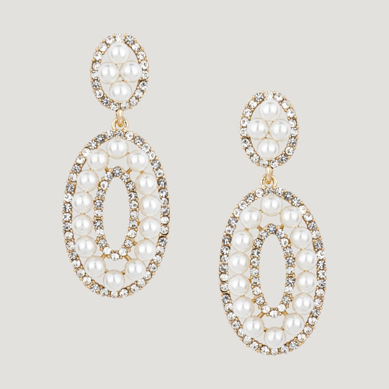 Oval with Pearls and Crystals Drop Earrings