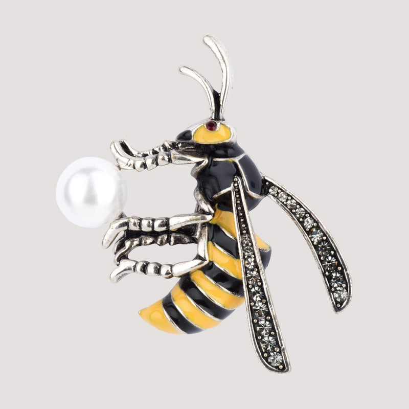 Bee on a Pearl Brooch