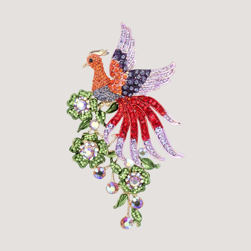 Crystal Bird on Flowers Brooch