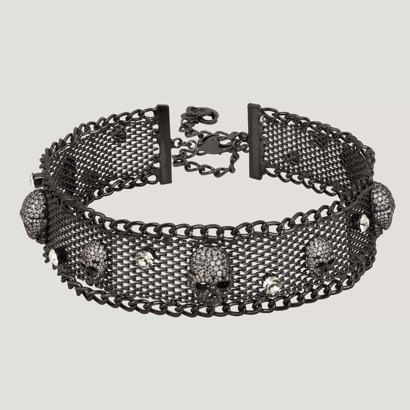 Crystal Skull on Net Collar Necklace
