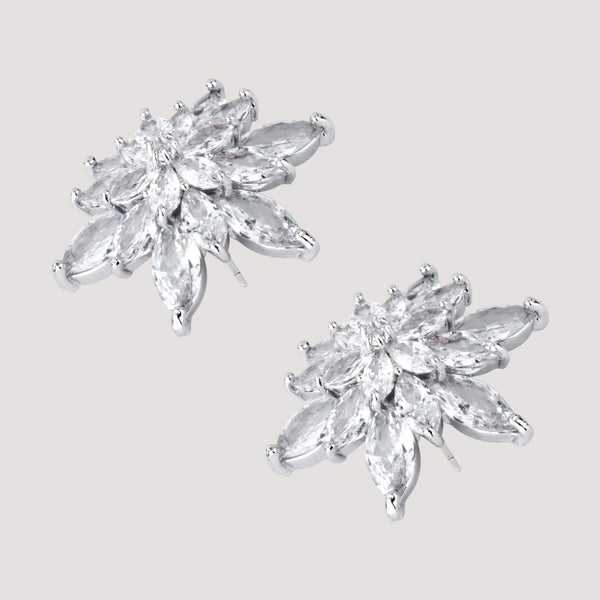 Pointed Crystals Flower Stud Earrings