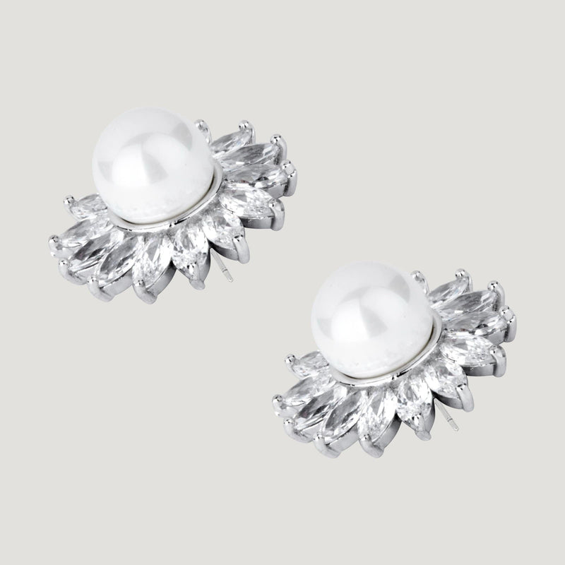 Pointed Crystal Flower with Pearl Stud Earrings