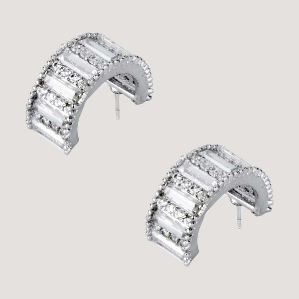 Crystal Baguette Stones Curve Earrings