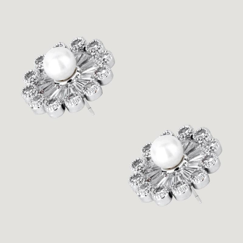 Small Crystal Flower with Pearl Stud Earrings
