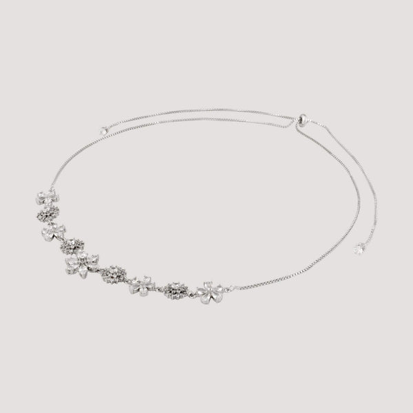 Crystal Flowers and Circles Choker Necklace