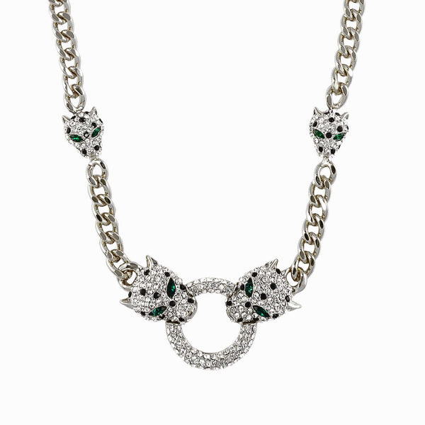 Two Crystal Leopard Heads Crystal Chain Necklace