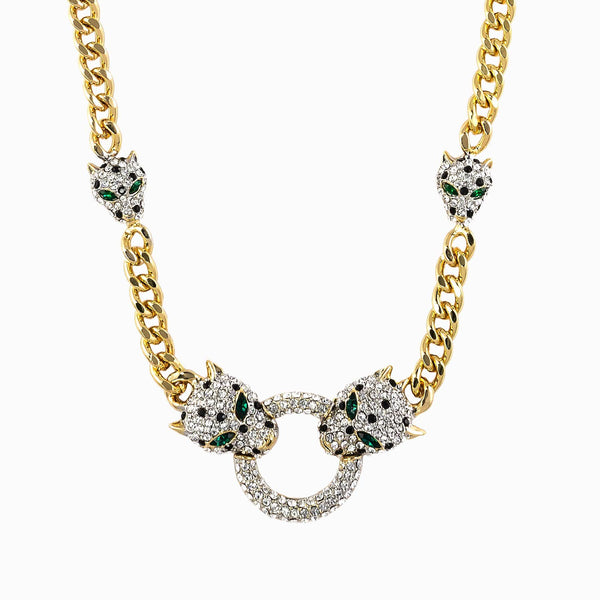 Crystal Leopard Heads Necklace
