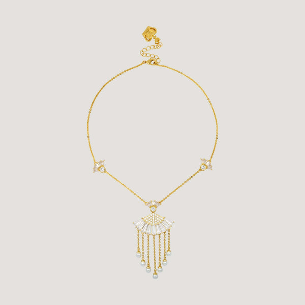 Crystal Fan & Drop Pearl Tassel Necklace