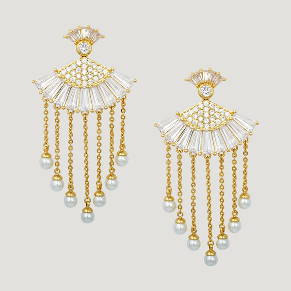 Crystal Fan with Drop Pearl Earrings