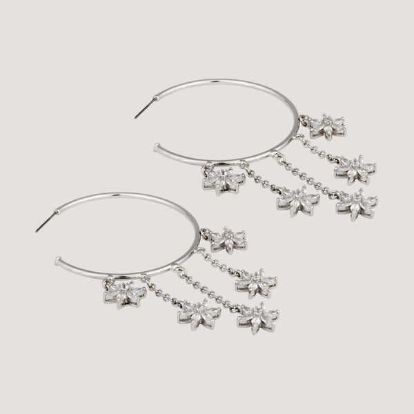 Drop Flowers Hoop Earrings