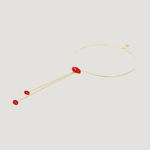 Crystal Lips Lariat Necklace