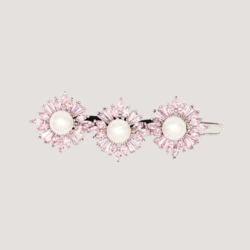 Three Crystal Flowers & Pearl Hairclip