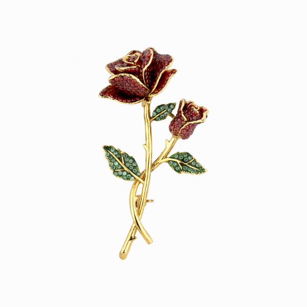 Crystal Rose on Stem Brooch