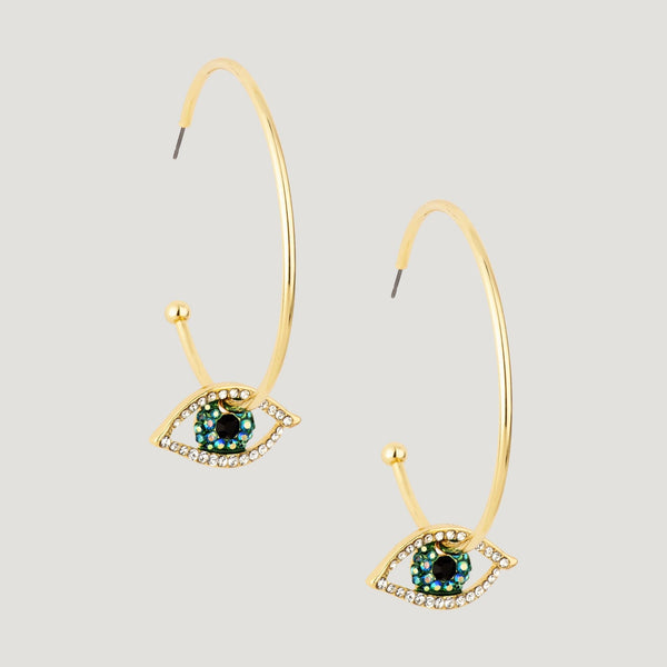 Hoop with Crystal Eye Earrings